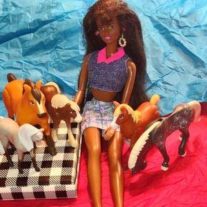 1966 Mattel Black Barbie and horses